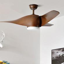 110V 220V 52 inch Retro Ceiling fan Fans With Lights Remote Control frequence Bedroom decor Light ventilator Lamp Vintage led cheap Lux vitae CN(Origin) 11kg Wood fan light 52inch Ceiling Fans 1year LED Bulbs Modern Wedge