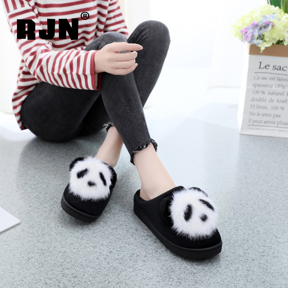 New RJN Cotton Slipper Lovely Panda Decoration Indoor Comfortable Flat With Shoes Warm Wool Insole Women Slipper For Winter RO64