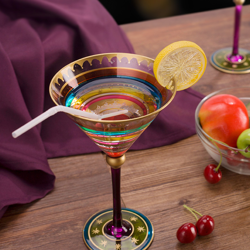 Europe Lead-Free Colored Drawing Wine Glasses Goblet Big Champagne Flute Cocktail Funny Cup Bar Party Drinkware Gift Home Decor