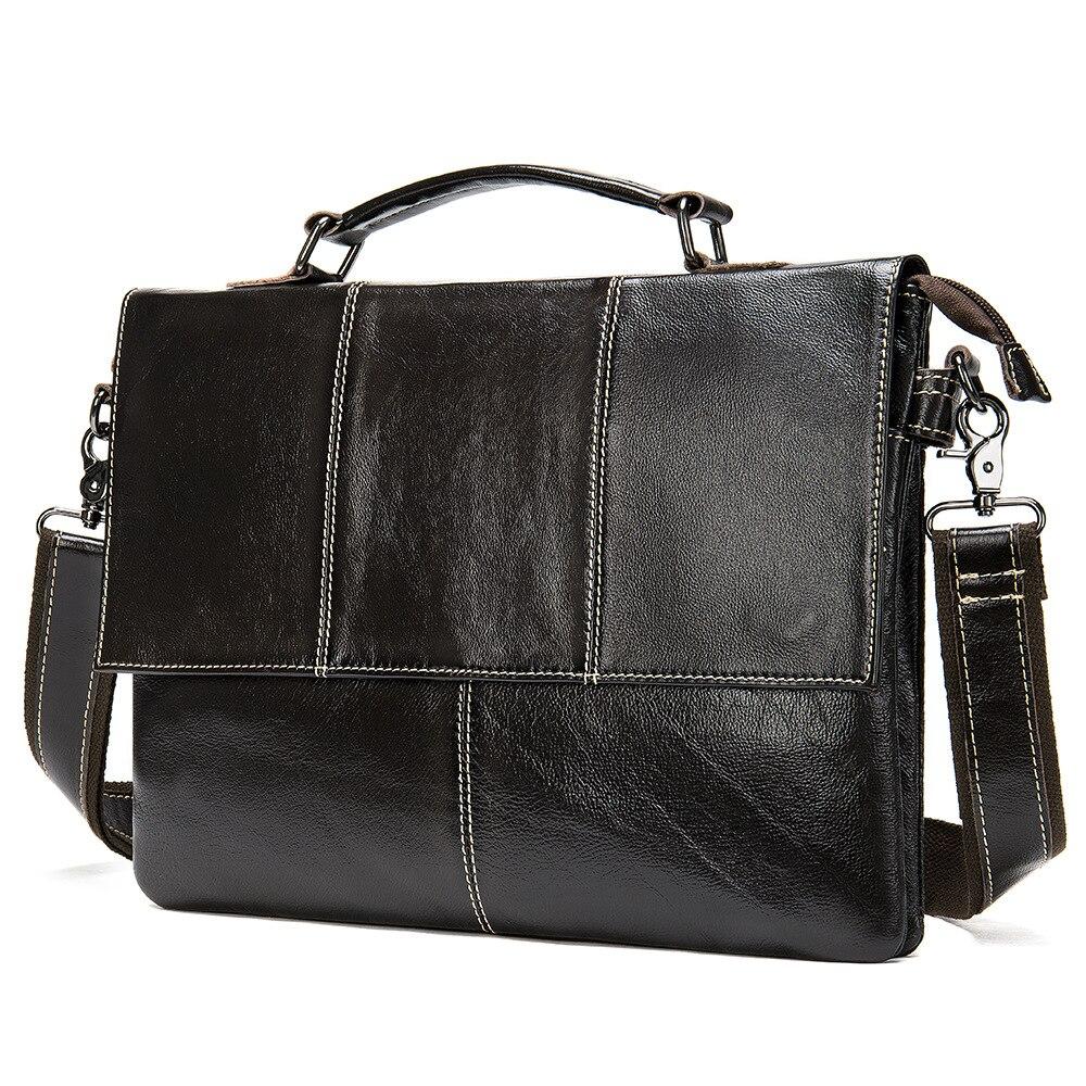 Genuine Leather Men Briefcase 13.3