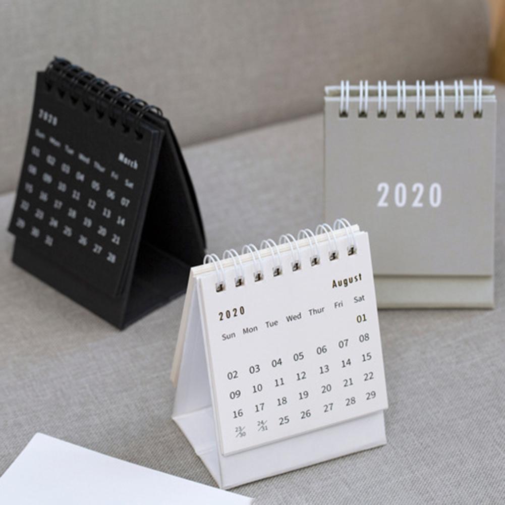 US $2.32 7% OFF Mr Paper 2020 Minimalist White Black Grey Mini Desktop Paper Calendars Daily Scheduler Table Planner Yearly Agenda Calendars in