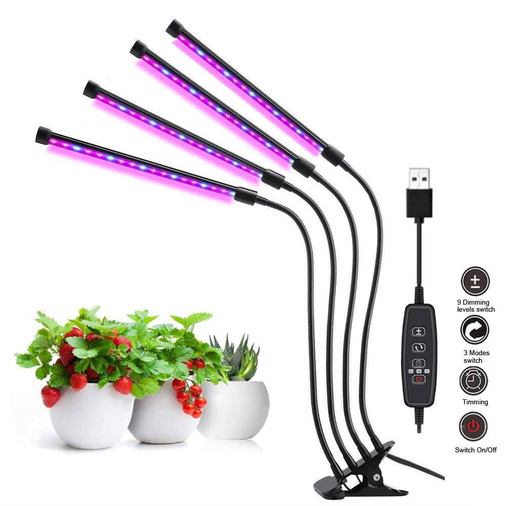 4 머리 led 성장 빛 전체 스펙트럼 phyto 램프 식물에 대 한 usb 클립 온 성장 램프 실내 모종 꽃 성장 텐트 상자 fitolamp