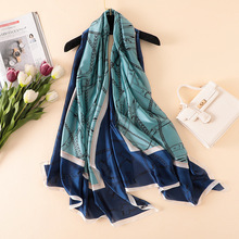 2019 new style women Popular beach shawl china silk fashion Autumn and winter flower scarve