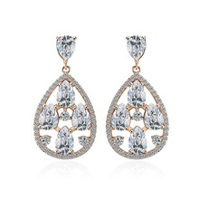 NJ Vintage Elegant  Design Water Drop Hanging Dangle Earring For Woman Chic Earrings Crystal Bohemian Jewelry