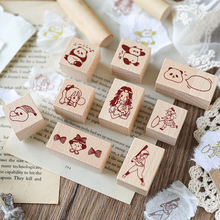 Age-Series-Stamp Scrapbooking Stationery Wooden for DIY Interesting 9pcs/Lot