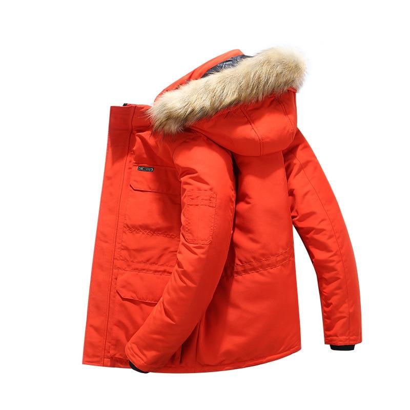 Grande taille mi longue veste d'hiver hommes coupe vent épais chaud col de fourrure hommes Parkas multi poches Outwear classique nouveaux manteaux - 6
