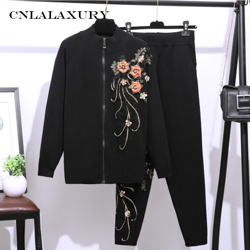Winter Sequin Embroidery Floral Outfits Tracksuit Women Turtleneck Knit Cardigans Sweater+Elastic Pants Suit Casual 2 Pieces Set