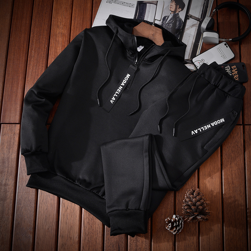2018 New Style Men Long Sleeve Pullover Hoodie Korean-style Fashion Sports Casual Two-Piece Set