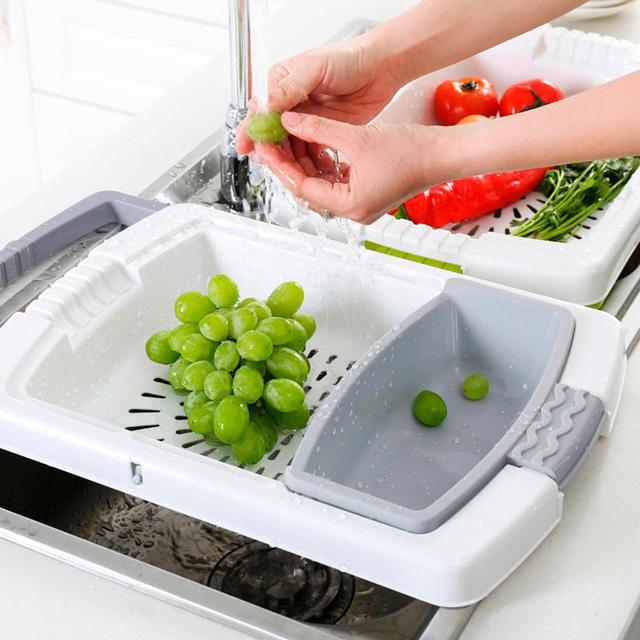 Multi-function Kitchen Cutting Board 3-in-1 Storage Basket Vegetable Fruit Drain Rack Detachable Basket Household 3