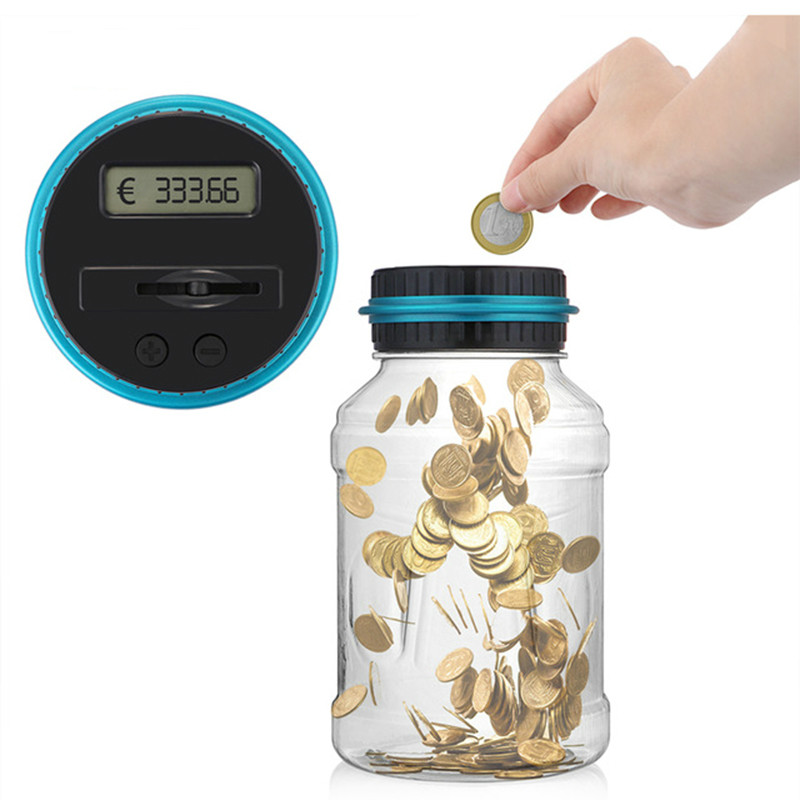 LCD Counting Coin Money Saving Box Jar Coins Storage Box For USD EURO Money Piggy Bank Counter Coin Electronic Digital