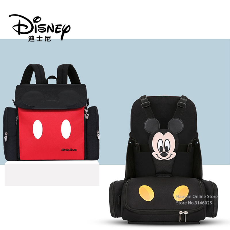 Disney Double Shoulder Mommy Bag Multifunctional Large Capacity Baby Go out Portable Stool Type Mommy Bag Travel Bag