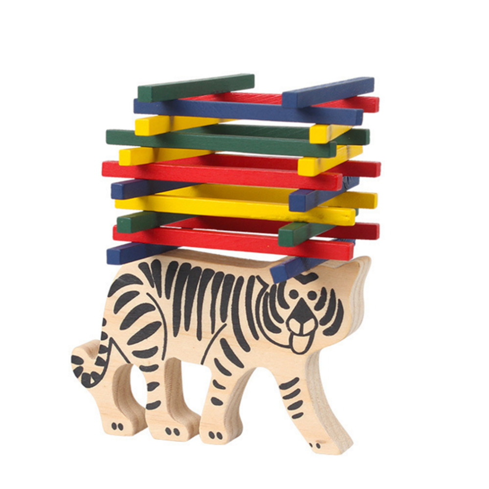 1 Set Wooden Toys Puzzles For Kids Montessori Color Rod Tiger Balancing Game Toys Children Educational Cognitive Learning Toys