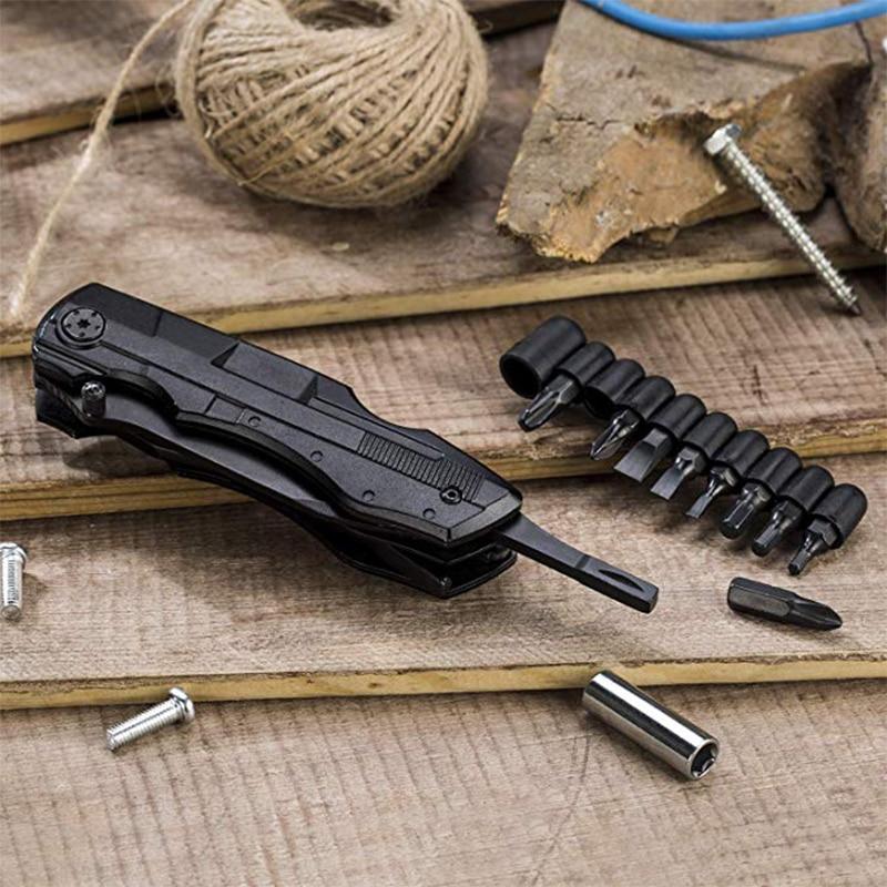 QUK Pliers Multitool Folding Pocket EDC Camping Outdoor Survival hunting Screwdriver Kit Bits Knife Bottle Opener Hand Tools7