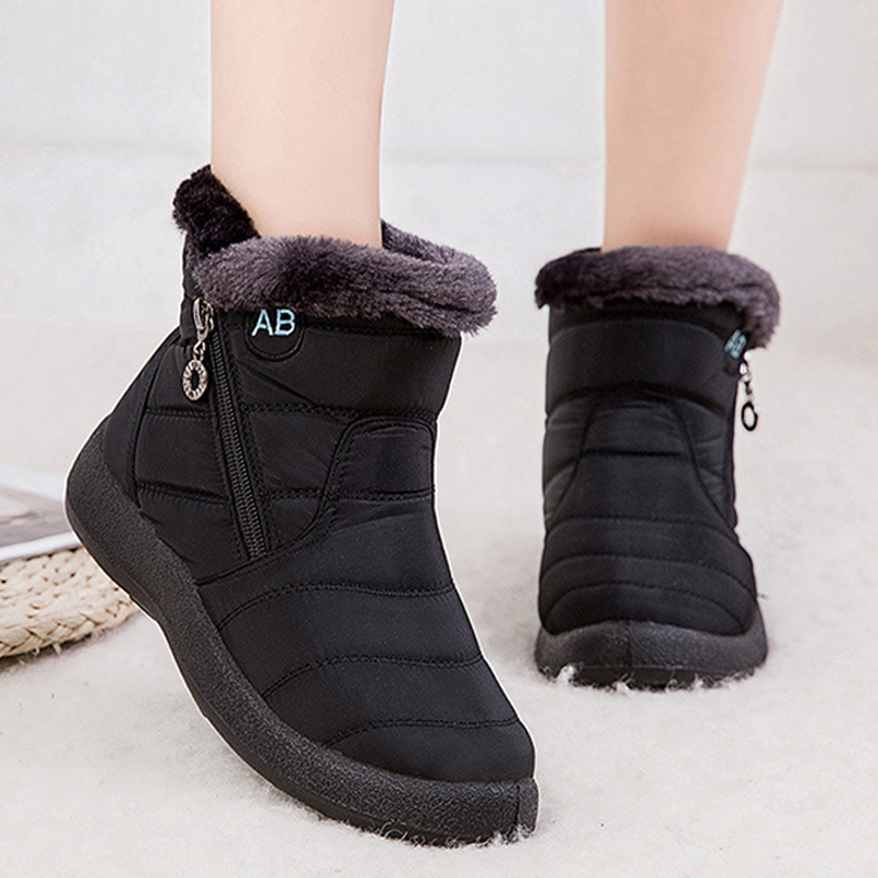 Snow Boots Women Shoes Warm Plush Fur Ankle Boots Winter Female Slip On Flat Casual Shoes 2020  Waterproof Ultralight Footwear