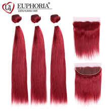 99J/Burgundy Straight Human Hair 3 Bundles With Frontal 13x4 Euphoria Brazilian Red Colored Remy Bundle Weaves