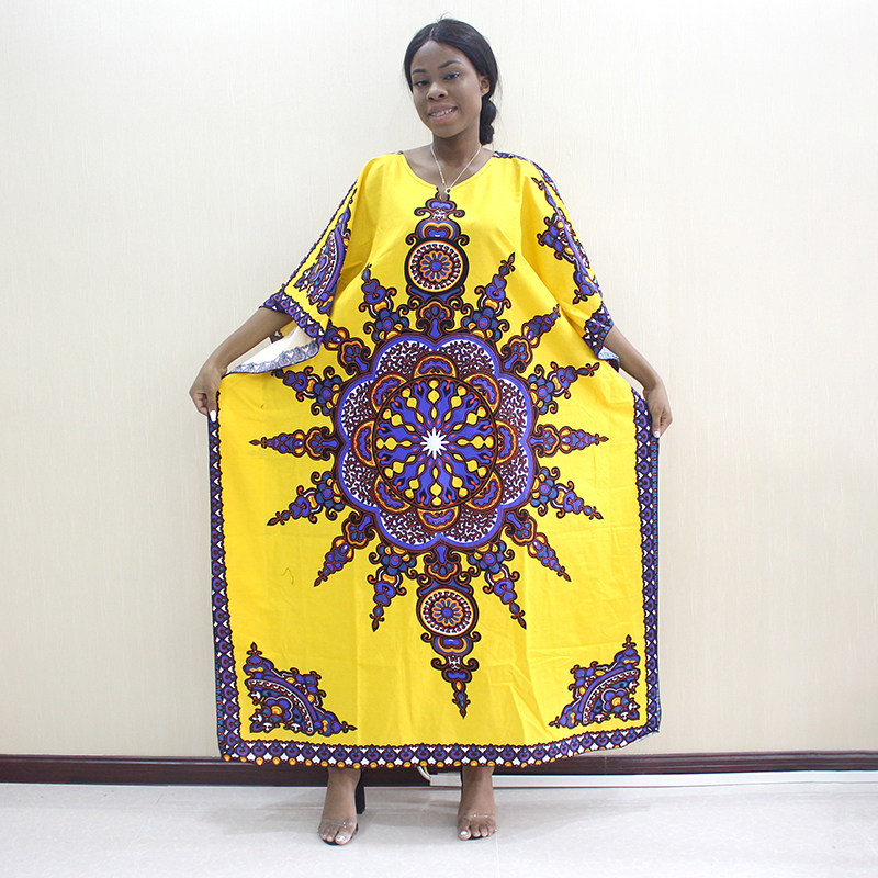 New Fashion 100% Cotton Yellow Print Elastic Sleeve Loose Style Dashiki  Long Dresses For Lady/Women