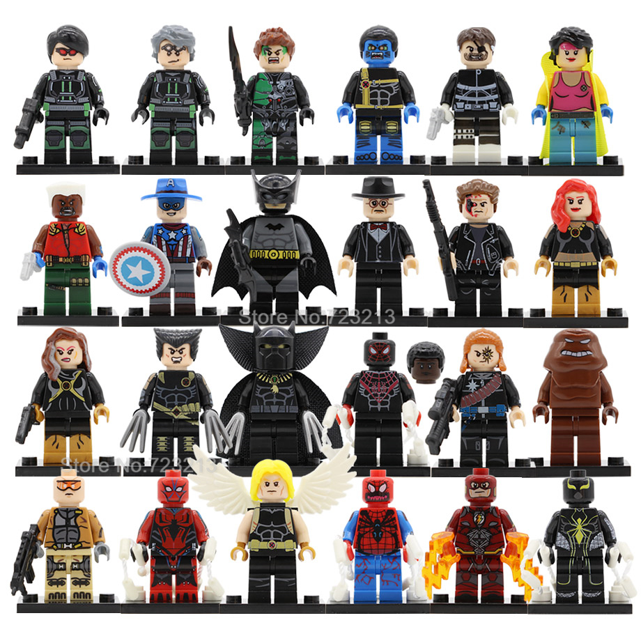 Super Hero Single Figure Ultimate Wolverine Black Panther Quicksilver Jubilee Carnage Spider Man Building Blocks Toy Legoing