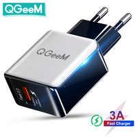 QGEEM-cargador USB de fibra para móvil, adaptador de carga rápida 3,0 para iPhone, Xiaomi Mi9, EU y US, QC 3,0