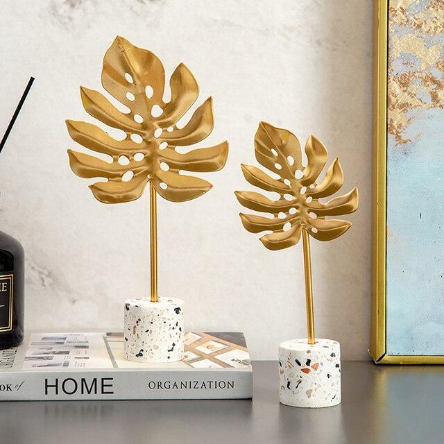 Europen Leaf Model sculpture resin craft vintage home decor Modern Vintage Abstract Statue Office Desk Decoration Ornaments Gift 4
