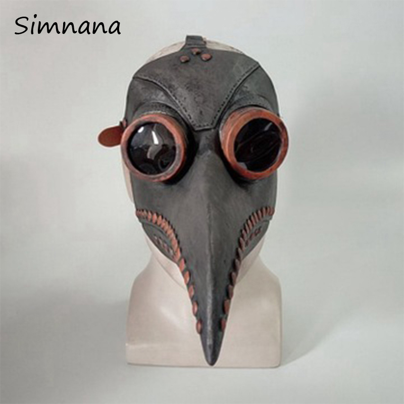 Funny Medieval Steampunk Plague Doctor Mask Latex Beak Long Nose Cosplay Fancy Mask Gothic Retro Rock Halloween Fancy Dress