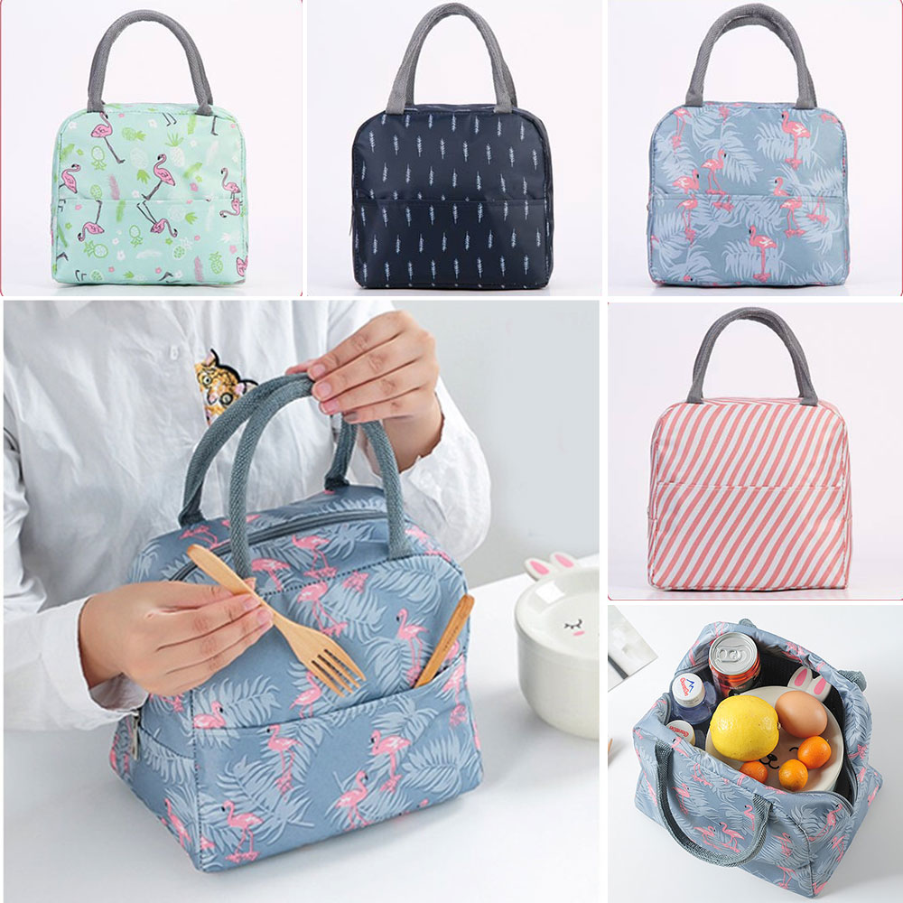 PUIMENTIUA 2019 Waterproof Portable Lunch Bag Thermal Insulated Snack Carry Tote Bag  Travel Picnic Food Storage Pouch