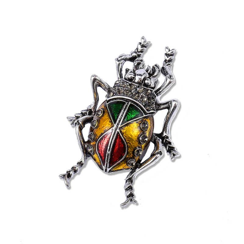 Morkopela Bug Enamal Pin Serangga Bros untuk Wanita Pria Vintage Logam Syal Klip Aksesoris Pakaian