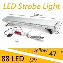 "47"" 88W LED Car Strobe Light Bar Auto Emergency Warning Flashing Lamp For 4X4 Off Road Work Lights 15 Flash Mode Signal Lamps"