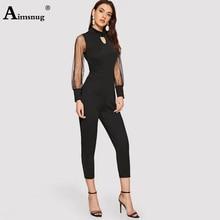 цены Aimsnug Lady Mesh Splice pearl Lantern Sleeve Turtleneck Jumpsuit Solid 2019 Autumn High Waist High Street Women Skinny Jumpsuit