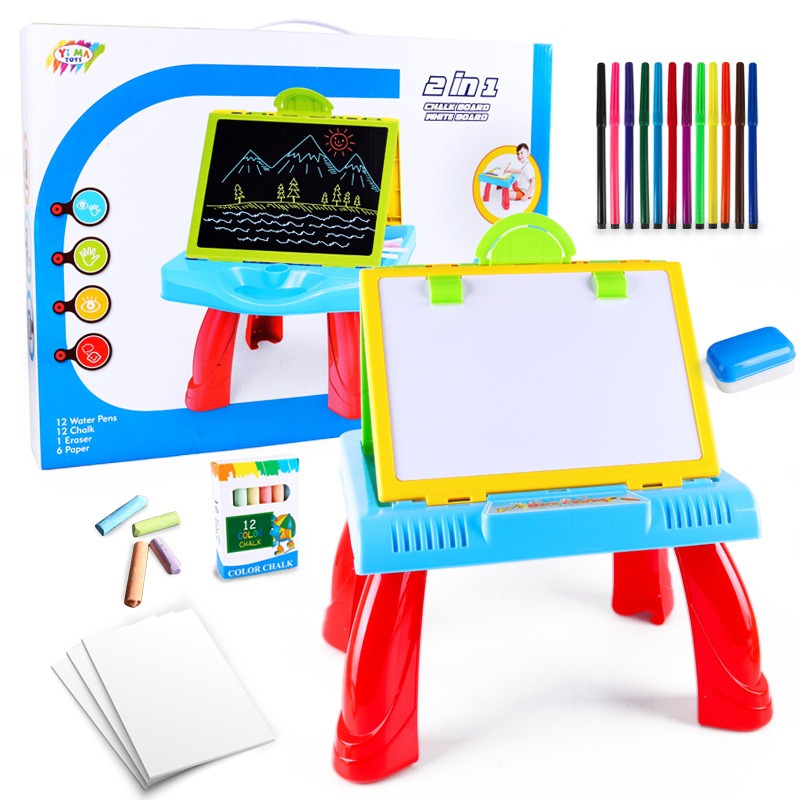Toy Multi-functional CHILDREN'S Drawing Board-in-Double-Sided Wipable Chalk Foldable Doing Homework Version