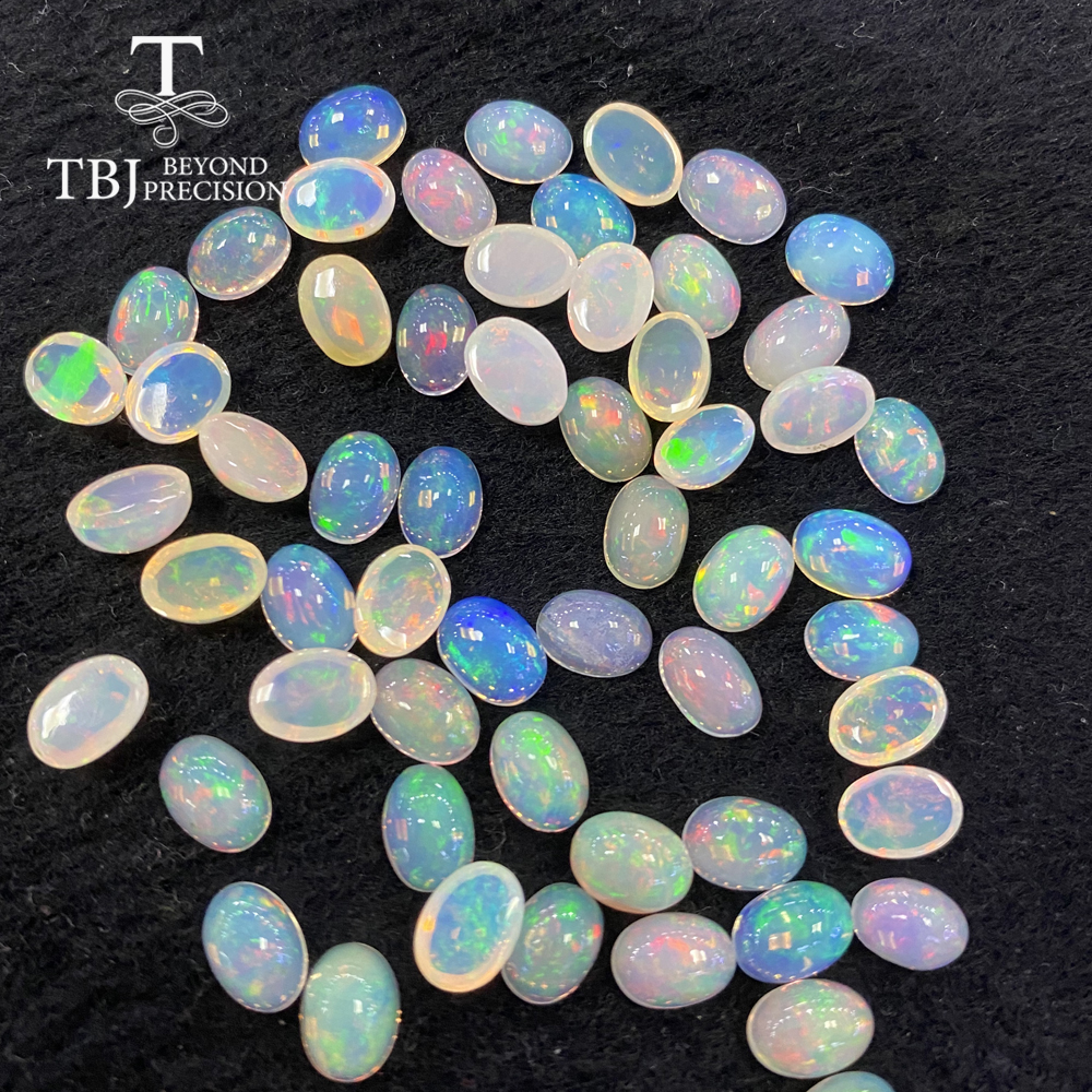 Natural Ethiopian Colorful Opal Oval 5*7mm Top Quality Natural Precious Loose Gemstones For 925 Sterling Silver Jewelry