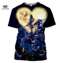 SONSPEE Anime 3d Print Game T Shirt Punk Kingdom Hearts Streetwear Men Tracksuit Women Summer Top Harajuku Shirts Homme Tshirts