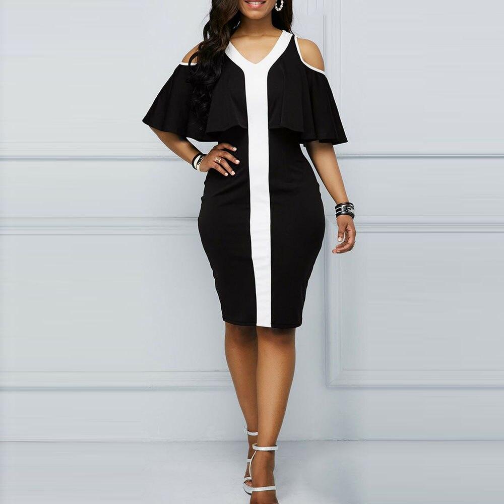 Женское платье с оборками, черное облегающее платье, Коктейльные Вечерние платья, летнее винтажное офисное платье в стиле пэчворк, элегантное платье миди в африканском стиле|Коктейльные платья|   | АлиЭкспресс