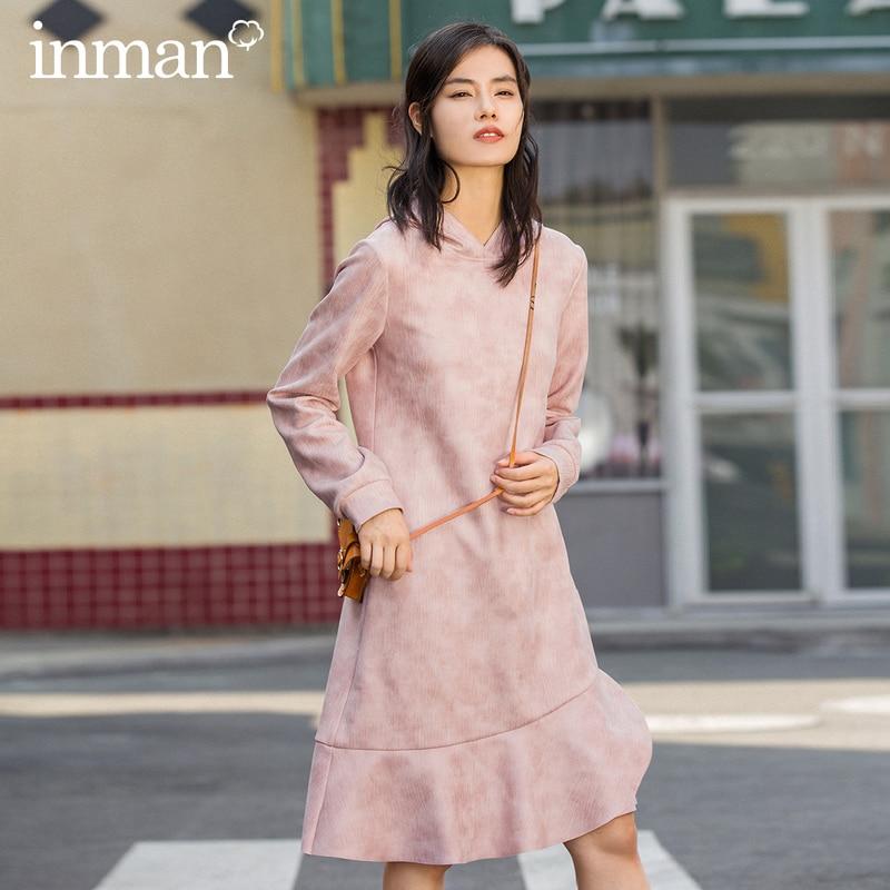 INMAN Winter Fashion Bardian Hooded Long Sleeve Fishtail Lady's Dress