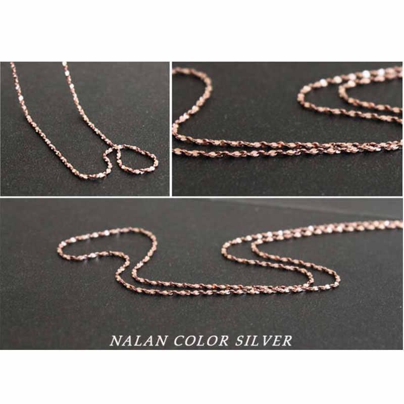 925 Sterling srebrna róża złoty kolor gwiazda Link Chain naszyjnik 45cm dla DIY wisiorek użyj Dropshipping S-N10