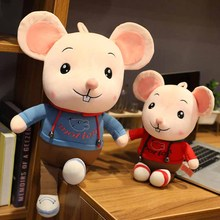 35/45/60/80cm 2 patterns Cartoon Sport Mouse figurine Plush padded rat doll pillow High quality workmanship Childrens Xmas gift
