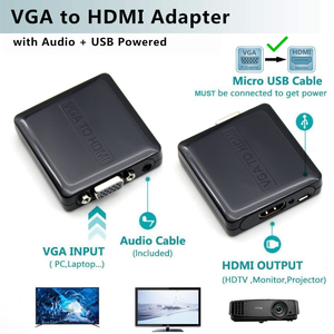 Image 5 - AIXXCO Quality Portable Plug and play VGA To HDMI Output 1080P HD Audio TV AV HDTV PC Video Cable VGA2HDMI Converter Adapter