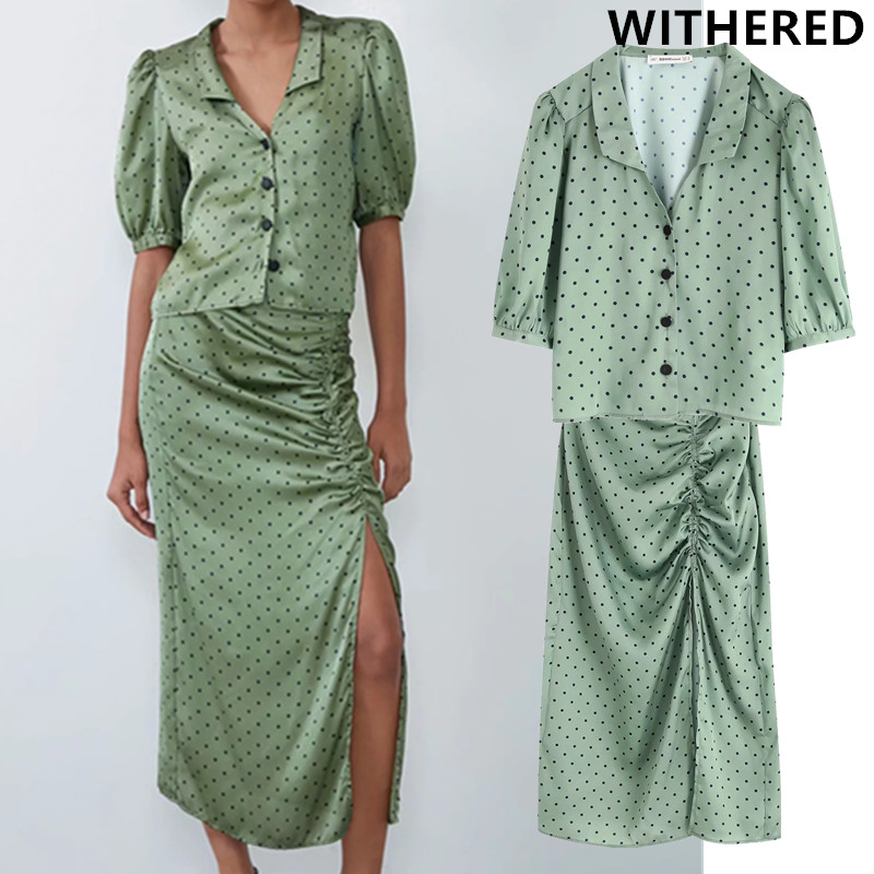 Withered England Vintage Polka Dot Printing Satin Puff Sleeve Short Top Blouse And Sexy Forking Midi Skirts Two Pieces Set Women