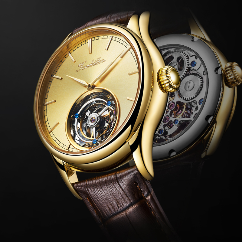 Guanqin Tourbillon Mechanical  Watches Men Watch Original Brand Luxury Skeleton Tourbillon Movement Men Relogio Masculino