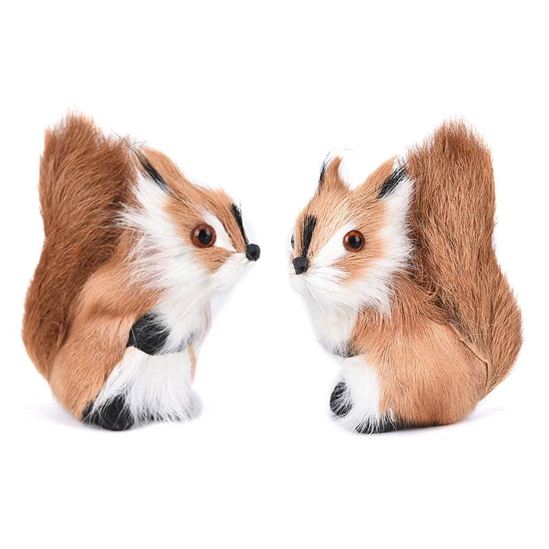 Simulation Animal Plush Squirrel Mini Stuffed Squirrel Plush Doll Cute Toy Figurines Miniatures Home Decoration