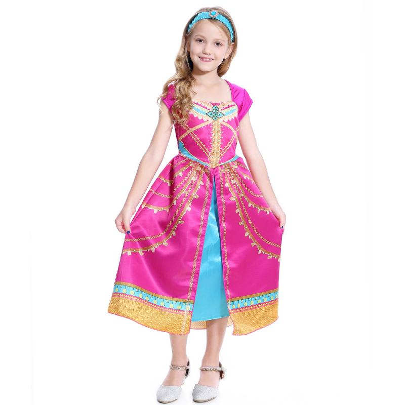 Girls Royal Princess Aladdin Jasmine Pink Summar Fancy Dress Film Live Action Cosplay Halloween Carnival Party Costume|Girls Costumes| - AliExpress