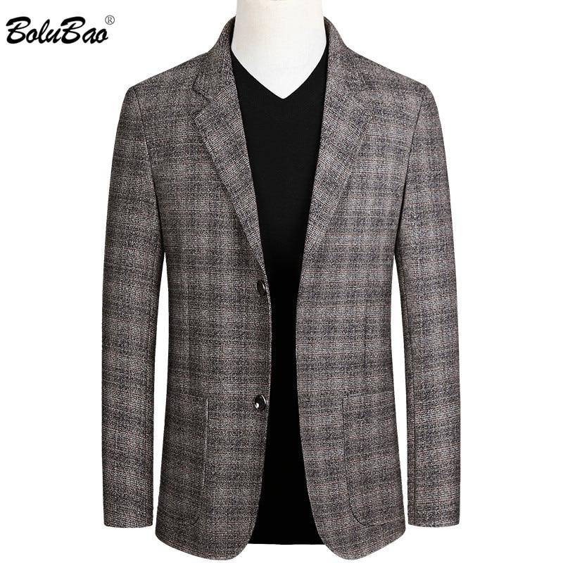 BOLUBAO Brand Men Casual Blazers High Quality Men's Business Single Breasted Plaid Suit Fashion Dress Blazer Male