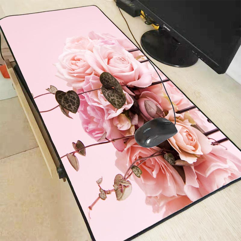 Mairuige Pink Flower Game Mousepad Rubber Mat Game Mouse Pad Playing Large Lock Edge Mouse Keyboard Big Pads For CSGO DOTA