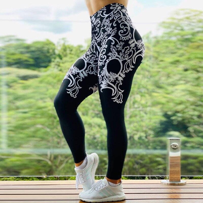S-3XL, Новое поступление, женские леггинсы с принтом, для тренировок, для бега, высокая талия, Спортивные Леггинсы, Mujer, Стрейчевые штаны для фит...
