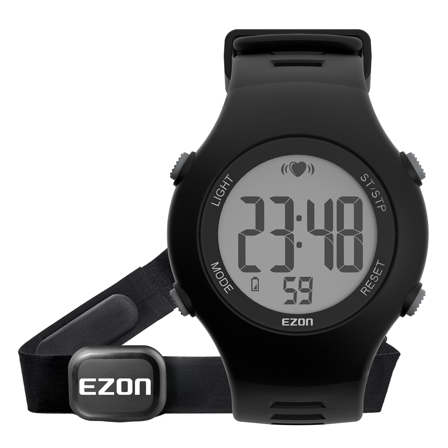 EZON T037 Chest Strap Heart Rate Monitor Sport Watch Men Digital Alarm Chronograph Waterproof Back Light Electronic Wristwatches