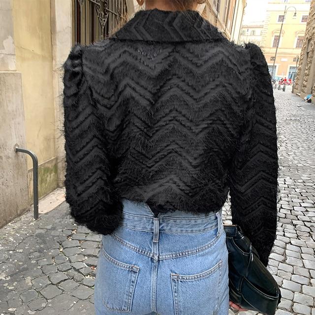XIBUSANA Elegant Notched Collar Women Tassels Blouses 2021 Spring New Long Sleeve Single-breasted Female Workwear Shirts Tops 6
