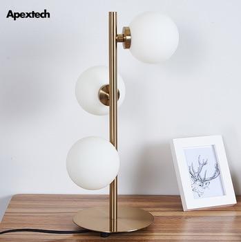Post Modern LED Desk Lamp Iron Art Glass Ball Table Lamp Bedroom Night lights Desk Reading Lamp Hotel Guest Room Deco luminaire