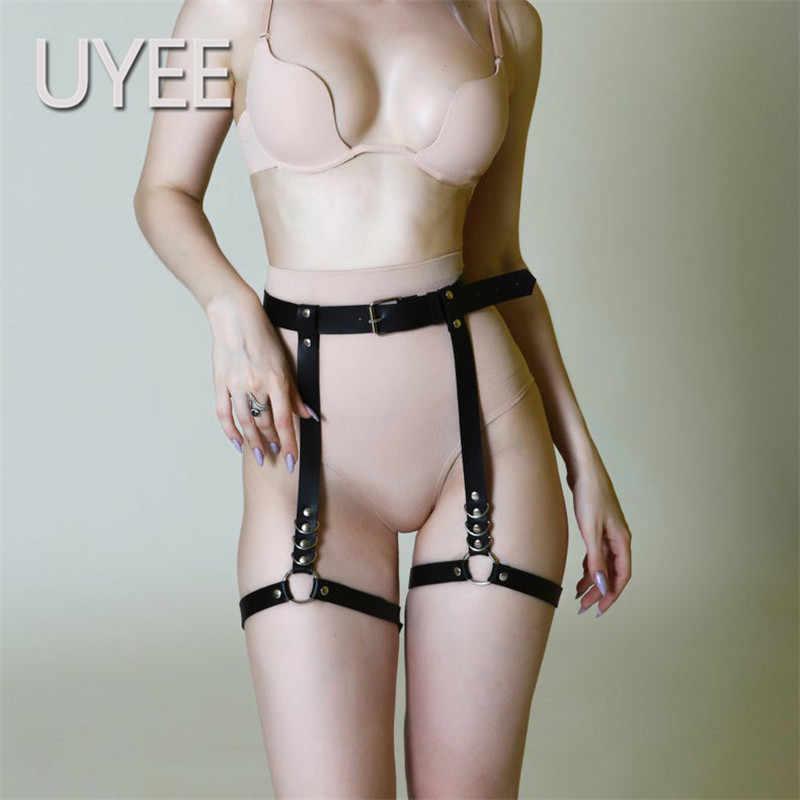UYEE 2019 mujer cinturón Sexy Harajuku Punk Lencería ligas medias ropa interior de mujer arnés de correa fetiche erótico
