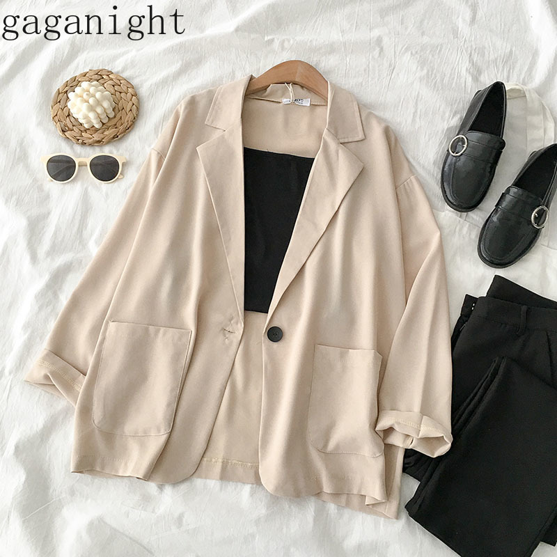 Gaganight Spring Autumn Women Blazer Chiffon Thin Long Sleeve Notched Casual Loose Coat Female Outwear Solid Vintage Korean Chic