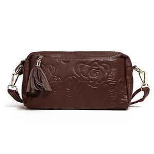 Image 1 - Bolsa de couro genuíno feminina mensageiro sacos bolsas de luxo bolsas femininas designer bolsa de ombro para as borlas crossbody saco