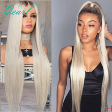 """Platinum Ash Blonde Colored Full Lace Wig Peruvian Remy Straight Human Hair Full Wigs 150% 8"""" 28"""" with Baby Hairs Qearl"""